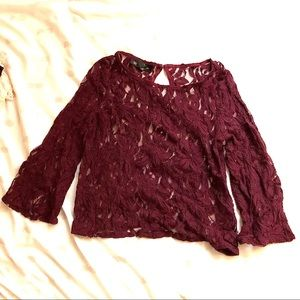 🐙Inc maroon lace blouse